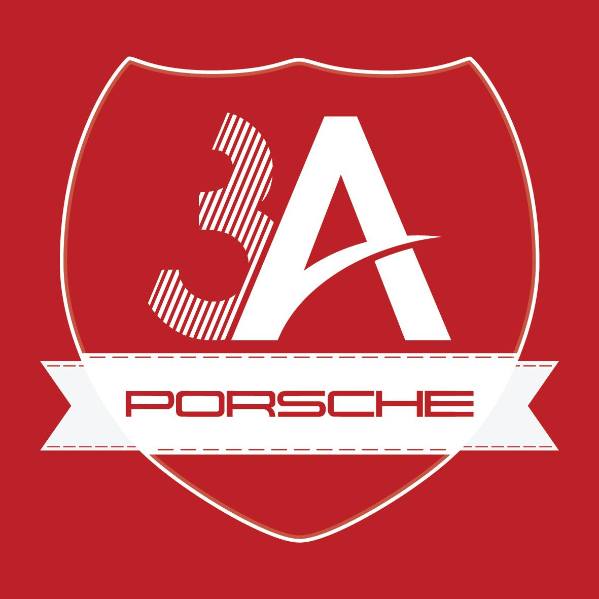3a porsche logo tasarimi kırmızı zemin çizgisel