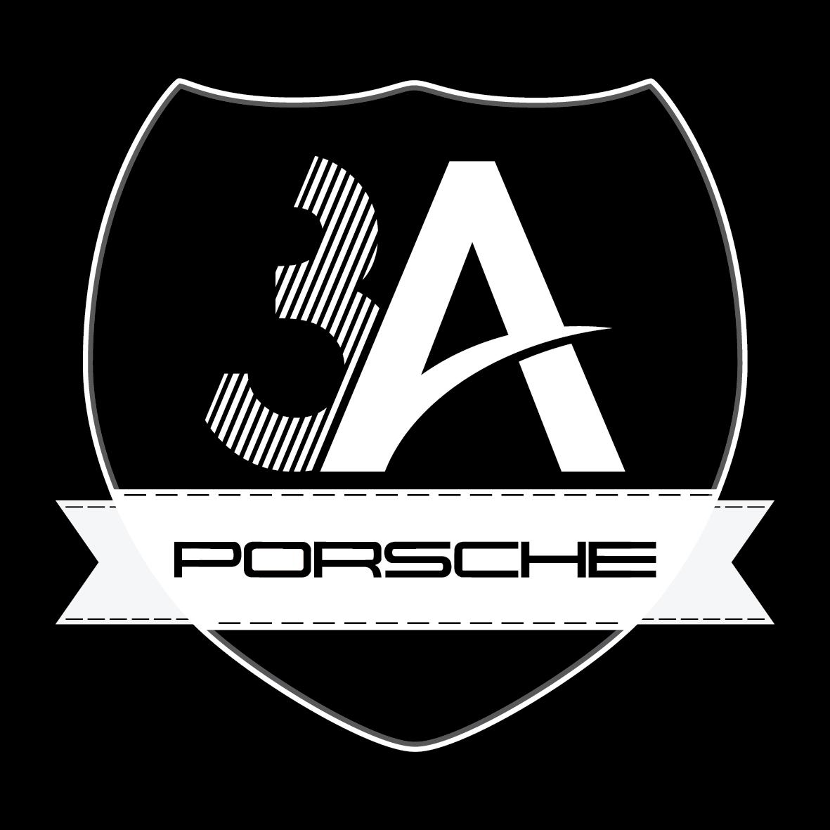 3a porsche logo tasarimi siyah zemin çizgisel