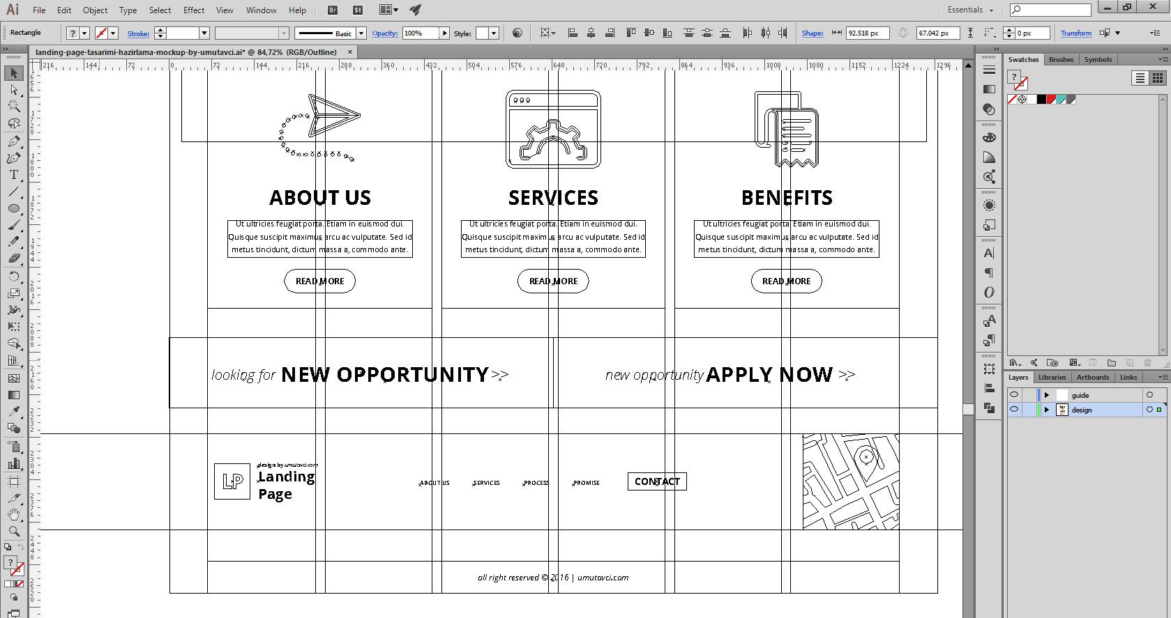 Landing Page Illustrator Çizim keyline | Umut Avcı