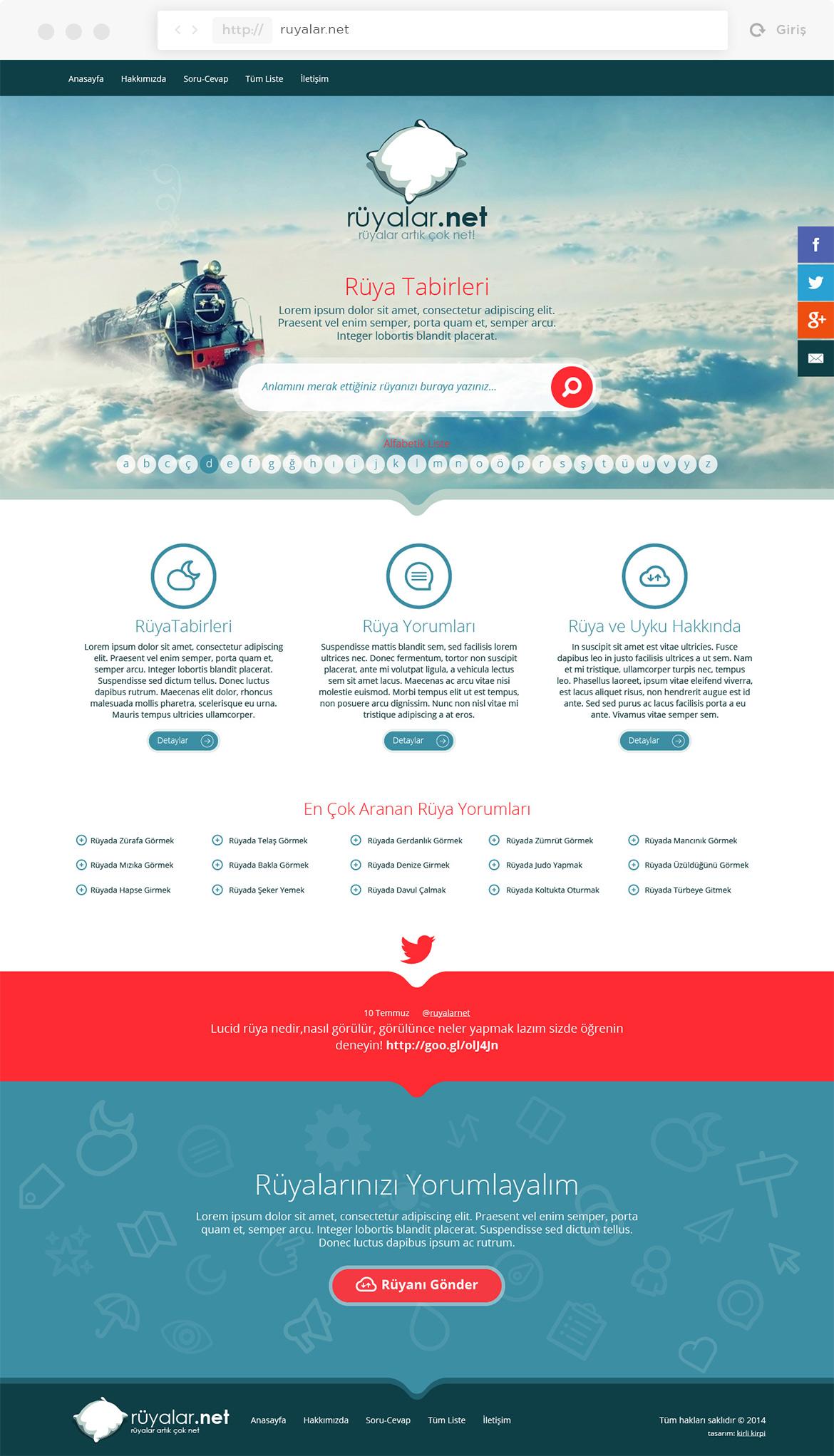 ruyalar.net web sitesi anasayfa tasarımı komple